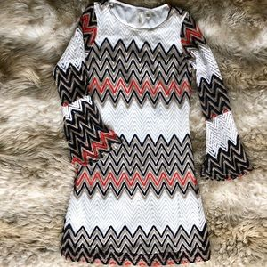 TACERA CHEVRON CROCHET BELL SLEEVE DRESS